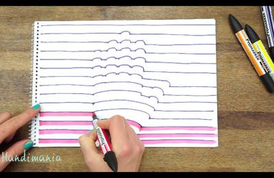 只用簽字筆和蠟筆,在家自畫3D立體手